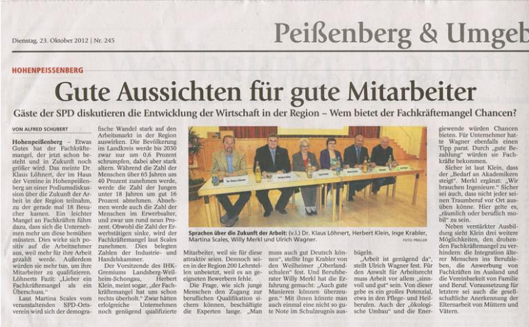 Podiumsdiskussion - Artikel WM Tagblatt